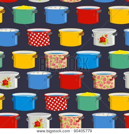 Seamless pattern pot. Vector background for kitchen