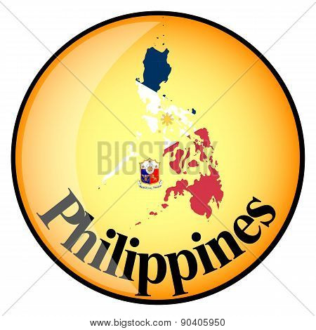 Orange Button With The Image Maps Of Philippines