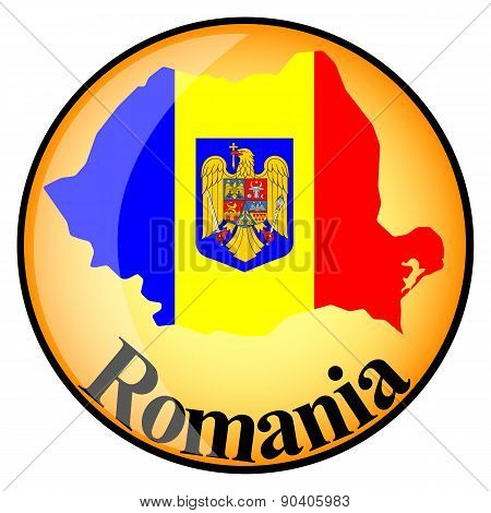 Orange Button With The Image Maps Of Romania
