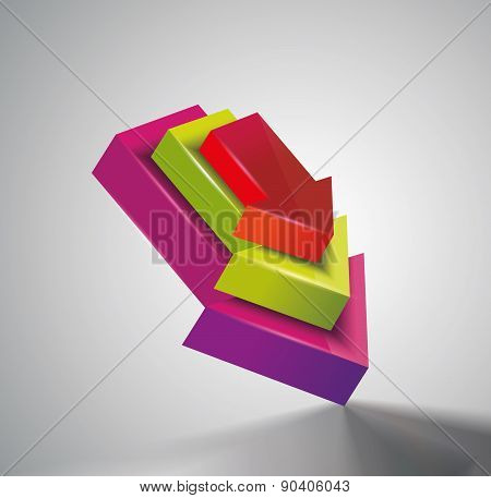 Icon Pointer Arrows, 3D Vector Illustration