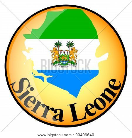 Orange Button With The Image Maps Of Button Sierra Leone