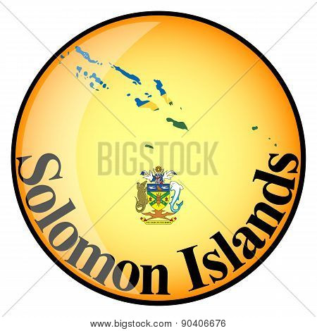Orange Button With The Image Maps Of Solomon Islands