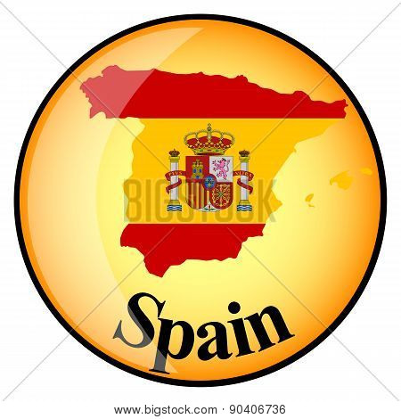 Orange Button With The Image Maps Of Spain
