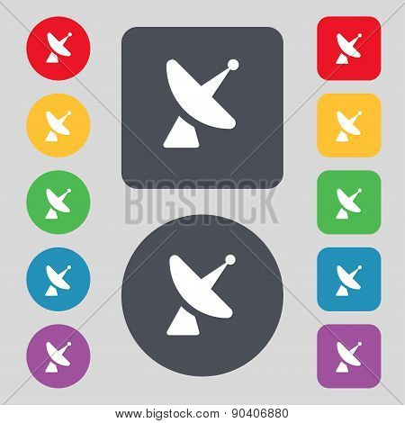 Satellite Dish Icon Sign. A Set Of 12 Colored Buttons. Flat Design. Vector