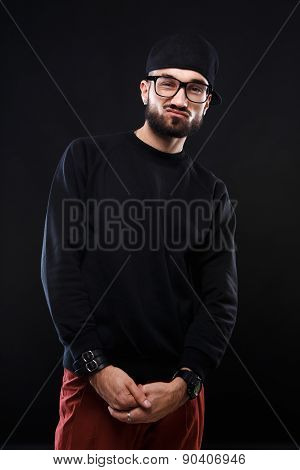 Charismatic guy in a black sweater , emotions