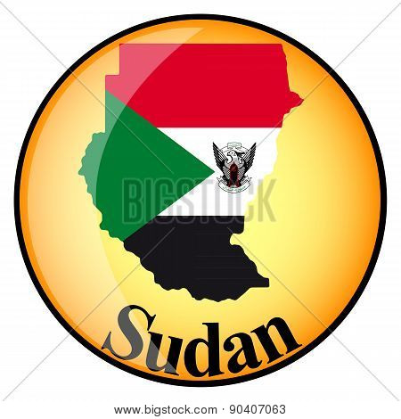 Orange Button With The Image Maps Of Sudan