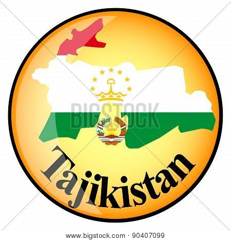 Orange Button With The Image Maps Of Tajikistan