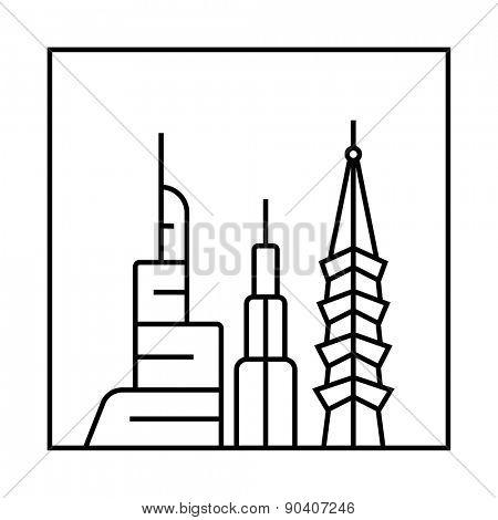 Cityscape icon. Urban vector city skyline and buildings