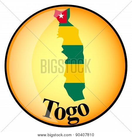 Orange Button With The Image Maps Of Togo