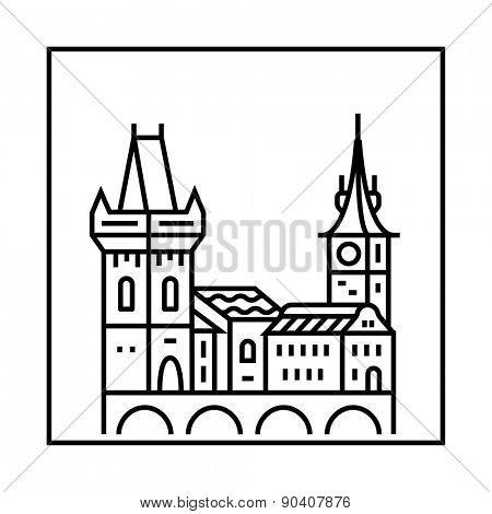 Prague icon. Vector city skyline and buildings