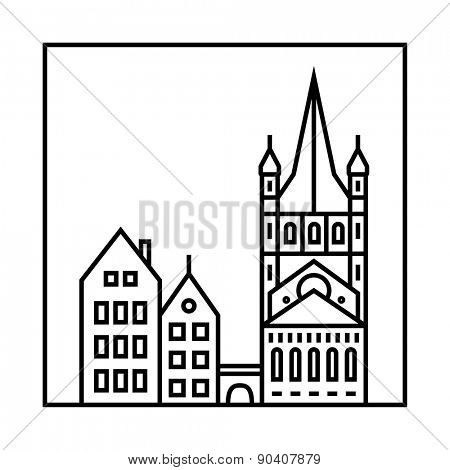 Vector city skyline and buildings. Cityscape icon