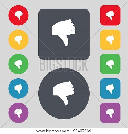 Dislike, Thumb Down Icon Sign. A Set Of 12 Colored Buttons. Flat Design. Vector