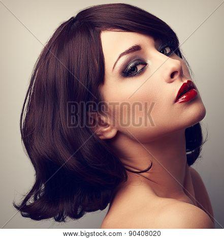 Beautiful Makeup Profile Of Black Hair Woman. Closeup Vintage Portrait