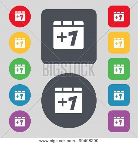 Plus One, Add One Icon Sign. A Set Of 12 Colored Buttons. Flat Design. Vector