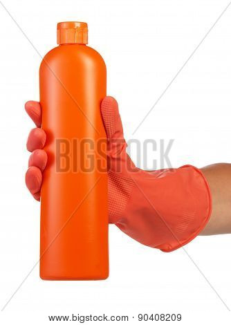 Hand in latex glove with cleaning product