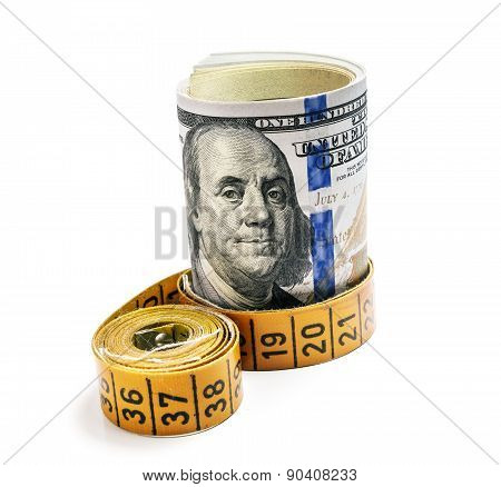 Bundle Of Dollars Belted Measuring Tape  On White Background