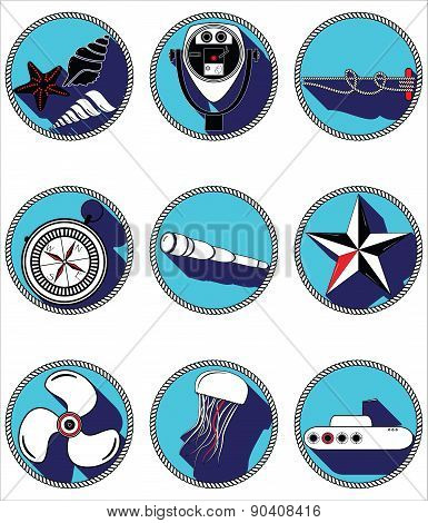 Nautical Elements II icons in knotted circle