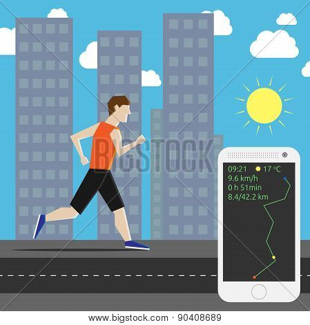 Marathon Runner In City