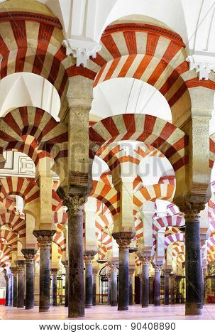 CORDOBA, SPAIN - MARCH 12, 2013: Interior of The Great Mosque of Cordoba -  masterpiece of moorish architecture, 11th century The Great Mosque of Cordoba (11-th century)