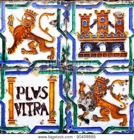 SEVILLE, SPAIN - MARCH 15, 2013: Ancient ceramic tiles in park of Real Alcazar Palace in Seville
