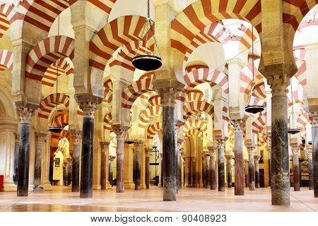 CORDOBA, SPAIN - MARCH 12, 2013: Interior of The Great Mosque of Cordoba (La Mezquita) -  masterpiece of moorish architecture, 11th century