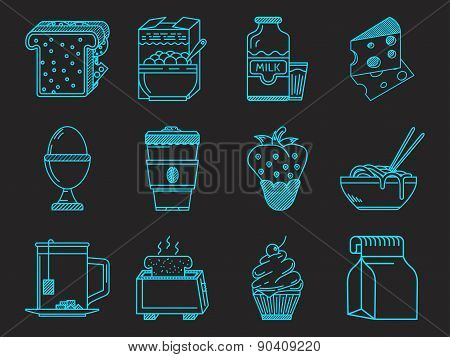 Breakfast blue icons vector collection