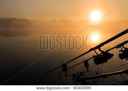 Carp Fishing Rods Misty Lake France