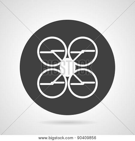 Quadcopter black round vector icon