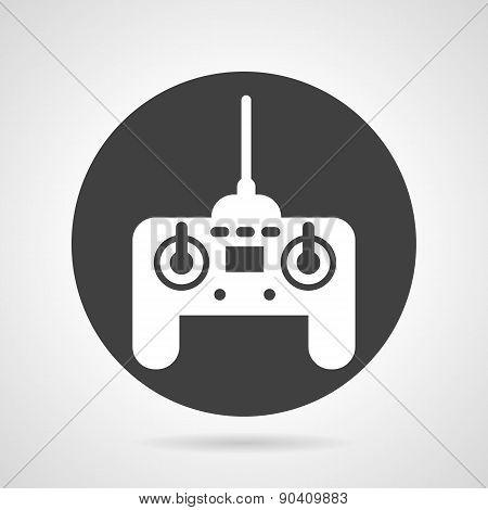 Joystick black round vector icon