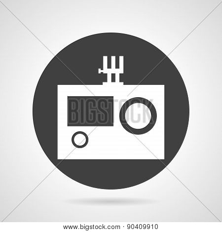 Action camera black round vector icon