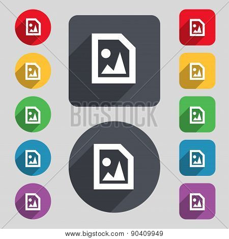 File Jpg Icon Sign. A Set Of 12 Colored Buttons And A Long Shadow. Flat Design. Vector