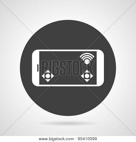 Phone controller black round vector icon