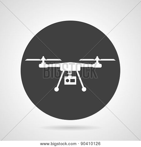 Drone black round vector icon