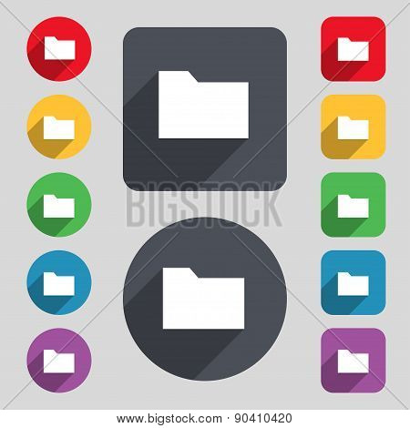 Document Folder Icon Sign. A Set Of 12 Colored Buttons And A Long Shadow. Flat Design. Vector