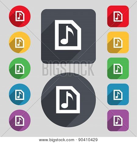 Audio, Mp3 File Icon Sign. A Set Of 12 Colored Buttons And A Long Shadow. Flat Design. Vector