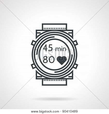 Fitness watch black line vector icon