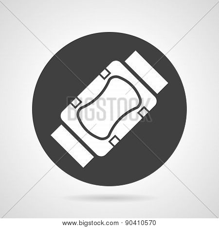 Sports protection black round vector icon
