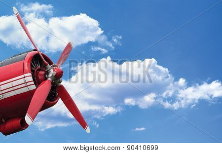 Airplane Propeller Engine On Blue Sky