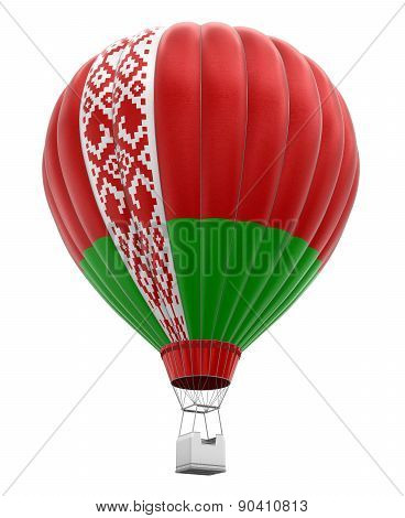 Hot Air Balloon with Belarus flag (clipping path included)