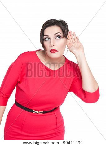 Beautiful Plus Size Woman Listening With Hand To Ear Concept
