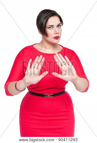 Beautiful Plus Size Woman Making Stop Gesture