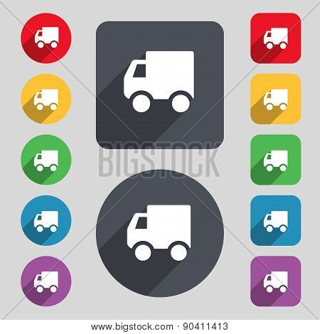 Delivery Truck Icon Sign. A Set Of 12 Colored Buttons And A Long Shadow. Flat Design. Vector