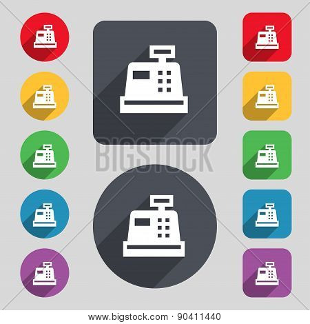 Cash Register Icon Sign. A Set Of 12 Colored Buttons And A Long Shadow. Flat Design. Vector