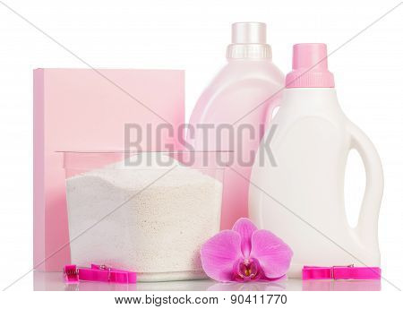 Pink washing powder and Cleaning items