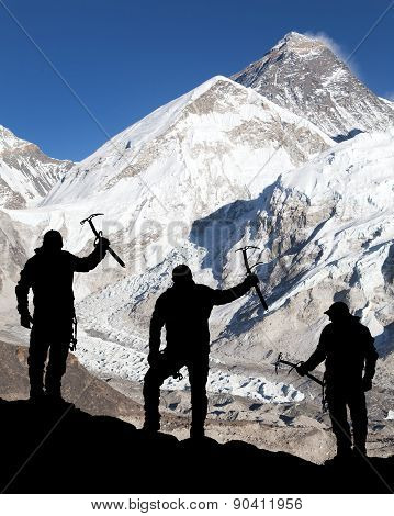 Mount Everest From Kala Patthar And Silhouette Of Men