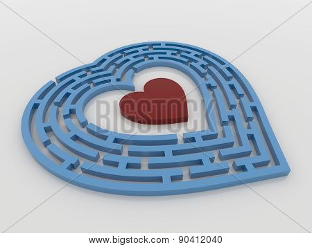 Blue Maze Heart On White Background,3D Render
