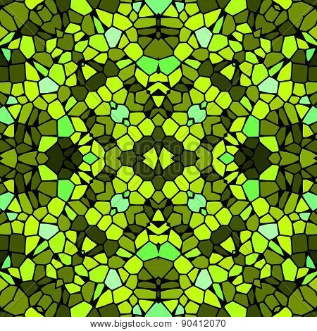 Seamless Kaleidoscopic Mosaic Yellow-green Tile Pattern