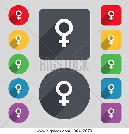 Symbols Gender, Female, Woman Sex Icon Sign. A Set Of 12 Colored Buttons And A Long Shadow. Flat Des
