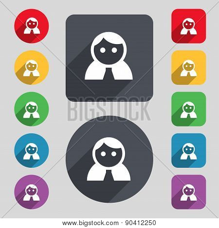 Female, Woman Human, Women Toilet, User, Login Icon Sign. A Set Of 12 Colored Buttons And A Long Sha