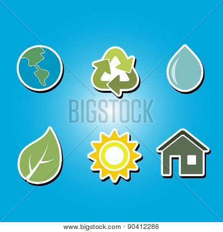 set of color icons with  Ecology  symbols